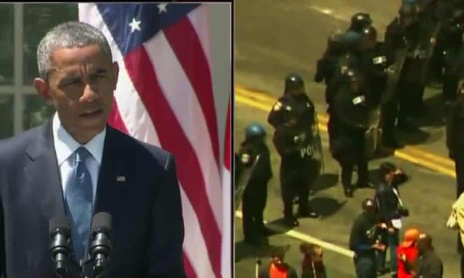 President Barack Obama speaks on cnn April 28 2015 split screen with protesters in baltimore