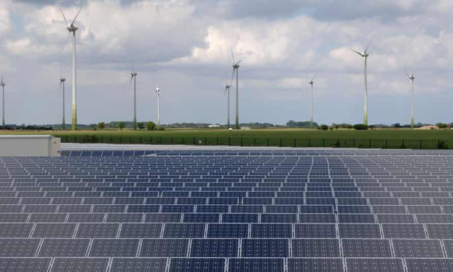 A solar electric power station near Louth in Lincolnshire, UK