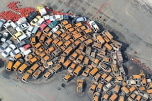 An aerial view shows cars burnt after a storm surge and strong winds caused by typhoon Jebi.
