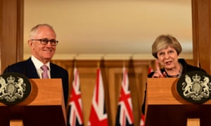 Australian prime minister Malcolm Turnbull and British prime minister Theresa May