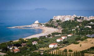View of the beach town of Sperlonga, close to Rome, Italy, on a sunny day.