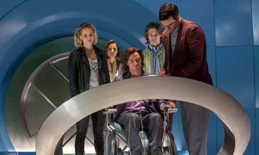 Jennifer Lawrence, Rose Byrne, James McAvoy, Lucas Till and Nicholas Hoult in X-Men: Apocalypse.