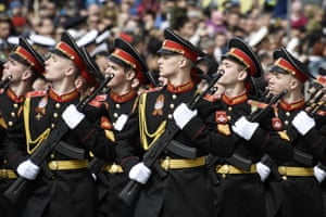 Suvorov military school cadets march in formation