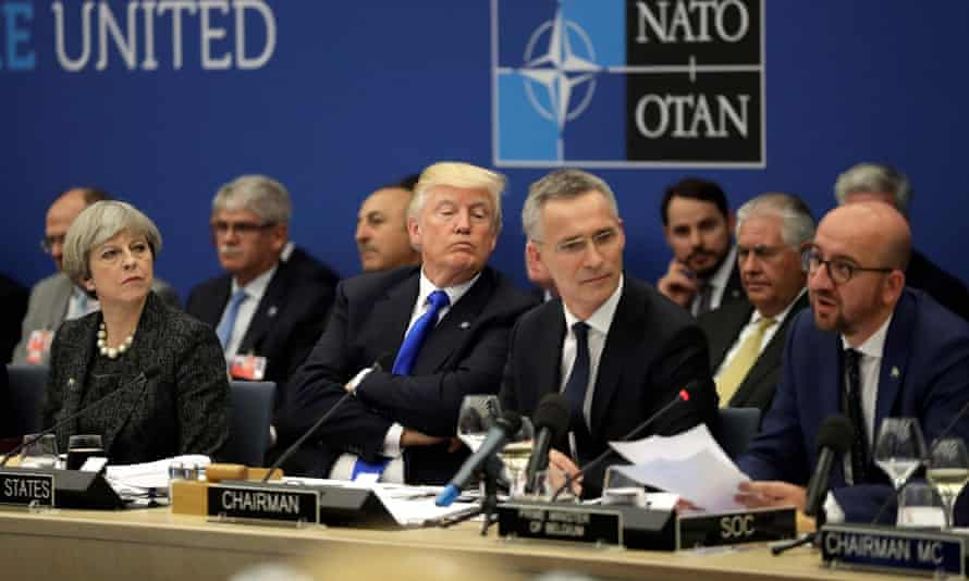 Donald Trump during a Nato summit in May 2017