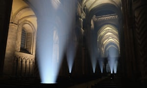 Lights inside the cathedral during a preview of the Lumiere festival.