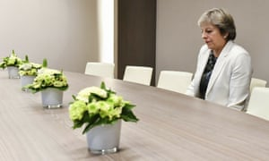 Theresa May waits for the arrival of European Council president Donald Tusk in Brussels in October 2017.