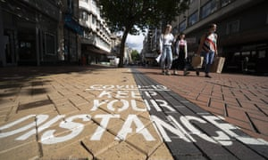 A reminder about distancing in Birmingham city centre last month.