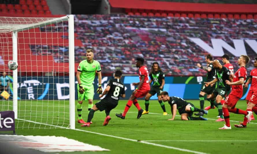 Marin Pongracic (bottom) scores Wolfsburg' opener to spark the unexpected thrashing.
