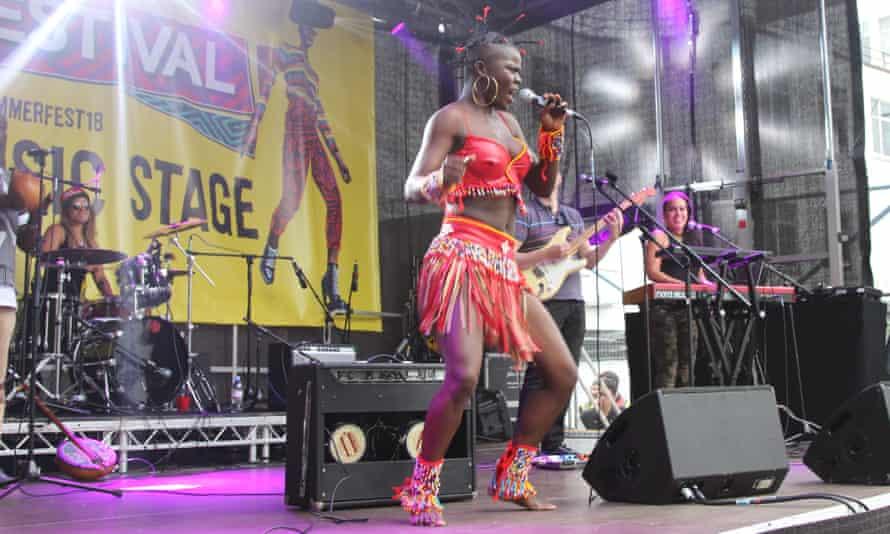 Afropop blast … Ghana's Wiyaala on stage.