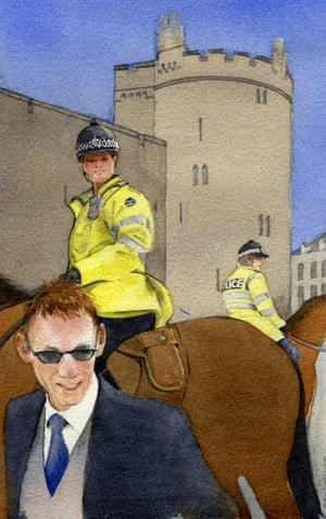 Mounted police in place for the royal wedding in 2005