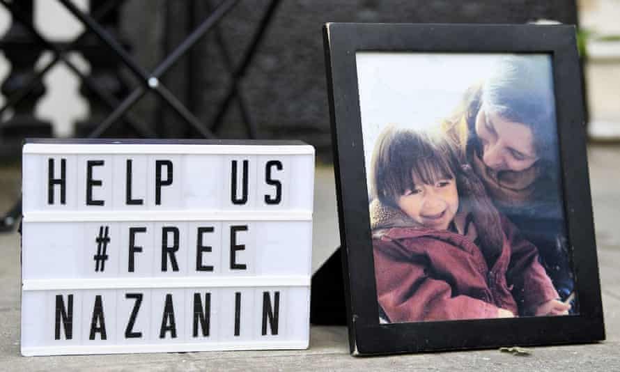 A photograph of Nazanin Zaghari-Ratcliff with her child