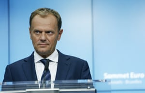 European Council President Donald Tusk during a press conference.