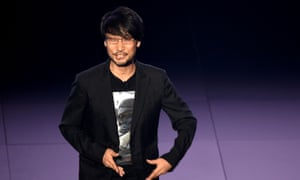 Japanese video game designer Hideo Kojima speaks on stage at the Sony PlayStation press conference at E3.