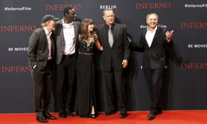 Never Brown in town: Dan Brown, right, with the cast of Inferno