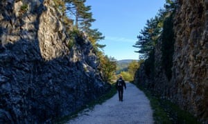 Hiker in the Val Rosandra valley, between the city of Trieste and the border with Slovenia.