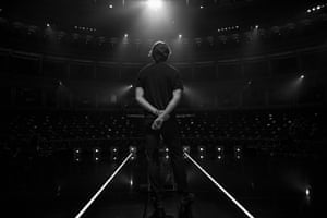 Bafta lighting technician testing the stage before the ceremony begins