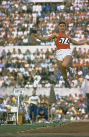 Soviet long jumper Igor Ter-Ovanesyan leaping through air at the 1960 Olympics.