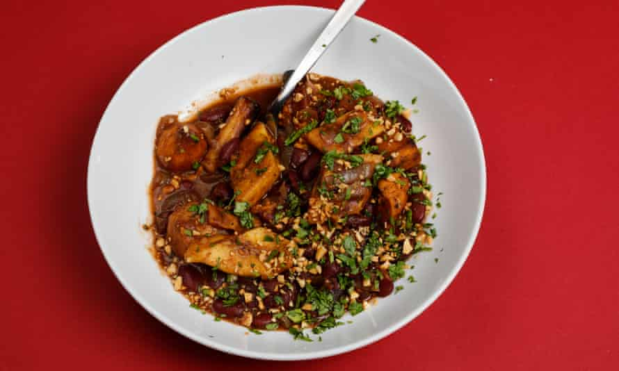 Tamal Ray's recipe - plantain stew. Christopher Thomond for The Guardian.