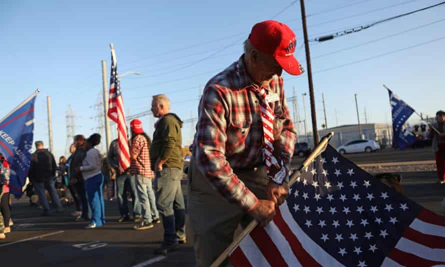 Trump supporters in Phoenix on Monday.Biden leads Trump in Arizona by more than 17,000 votes.