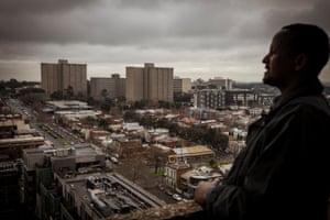 Hamdi Ali looks out over the Carlton Housing Estate.