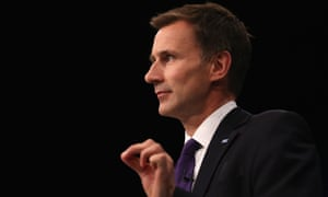 Health secretary Jeremy Hunt delivers his keynote speech to at the Conservative party conference