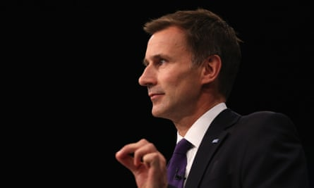 Health Secretary Jeremy Hunt delivering his speech to delegates at the Conservative party conference.