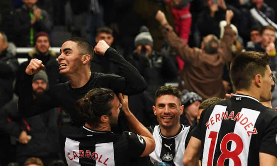 Miguel Almirón celebrates scoring in the 83rd minute for Newcastle against Crystal Palace.