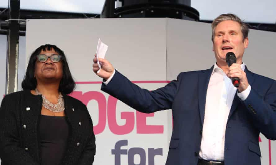 Diane Abbott and Keir Starmer at a London rally calling for a second Brexit referendum, 2019.