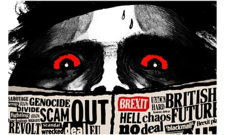 Illustration by David Foldvari of demonic eyes looking over a newspaper full of dire Brexit headlines