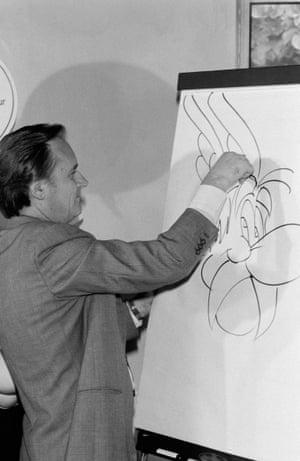 Uderzo draws Asterix.