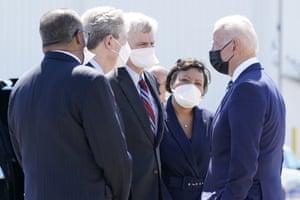 Joe Biden greets Rep.-elect Troy Carter, Sen. John Kennedy, Sen. Bill Cassidy and New Orleans Mayor LaToya Cantrell upon arrival to Kenner, La.