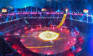 A general view during the closing ceremony of the Pyeongchang 2018 Winter Olympic Games.
