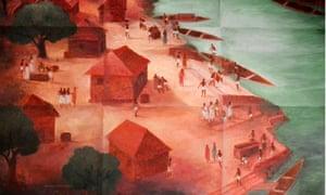 Lost Cities: Muziris, India. A painting of Muziris by the artist Ajit Kumar