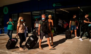 Passengers from Budapest arrive at Corfu Airport on its reopening following months of closure due to coronavirus.