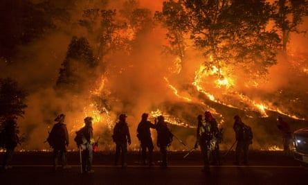 Flames along Highway 29 in Lower Lake, California
