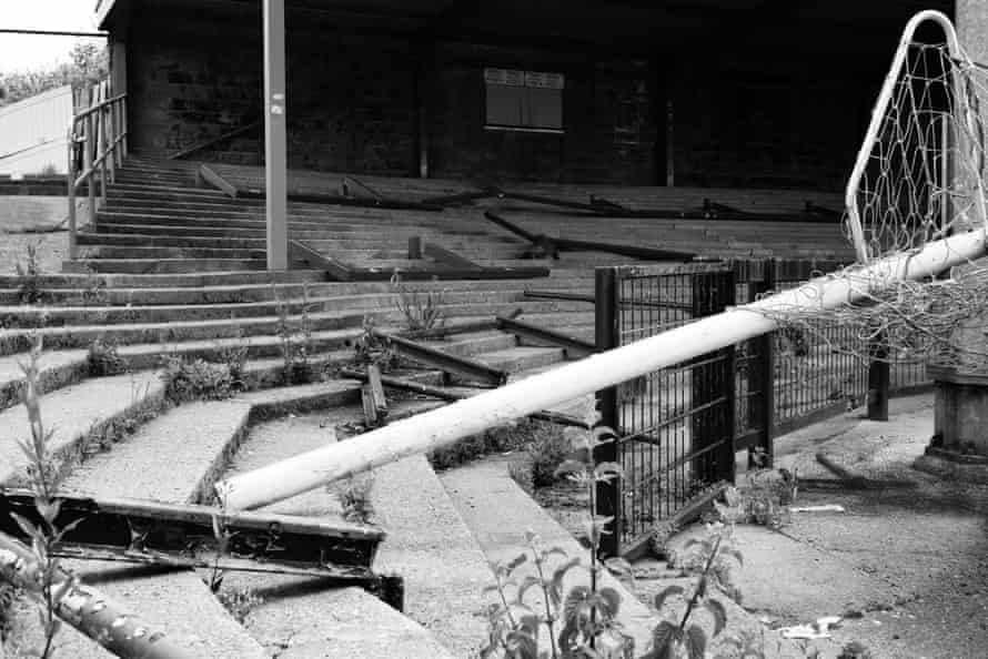 Weeds and wreckage have replaces the fans on the David Longhurst Terrace.