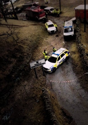 Miniature police cars at a roadbloack in The Aftermath Dislocation Principle
