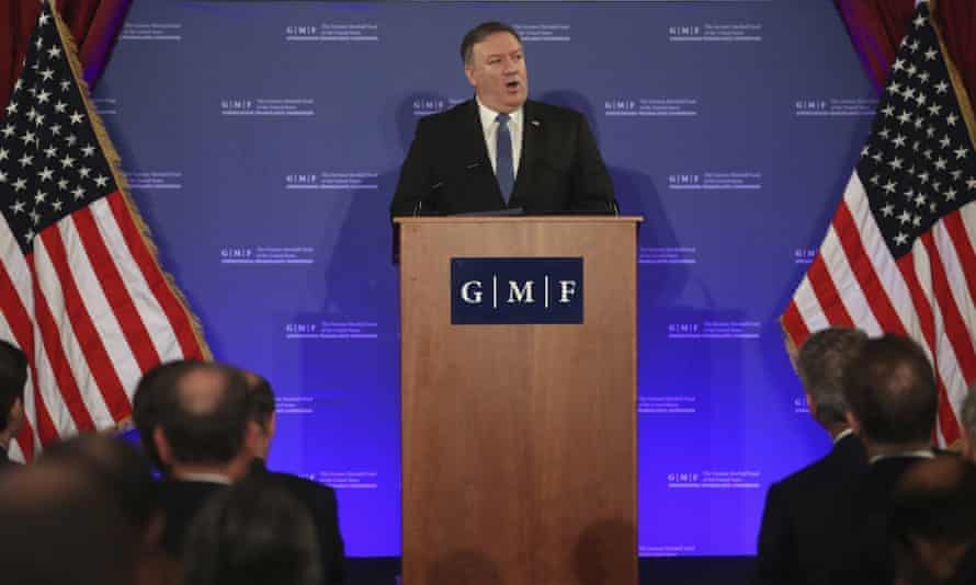 US secretary of state Mike Pompeo told diplomats 'we are not abandoning international leadership'.