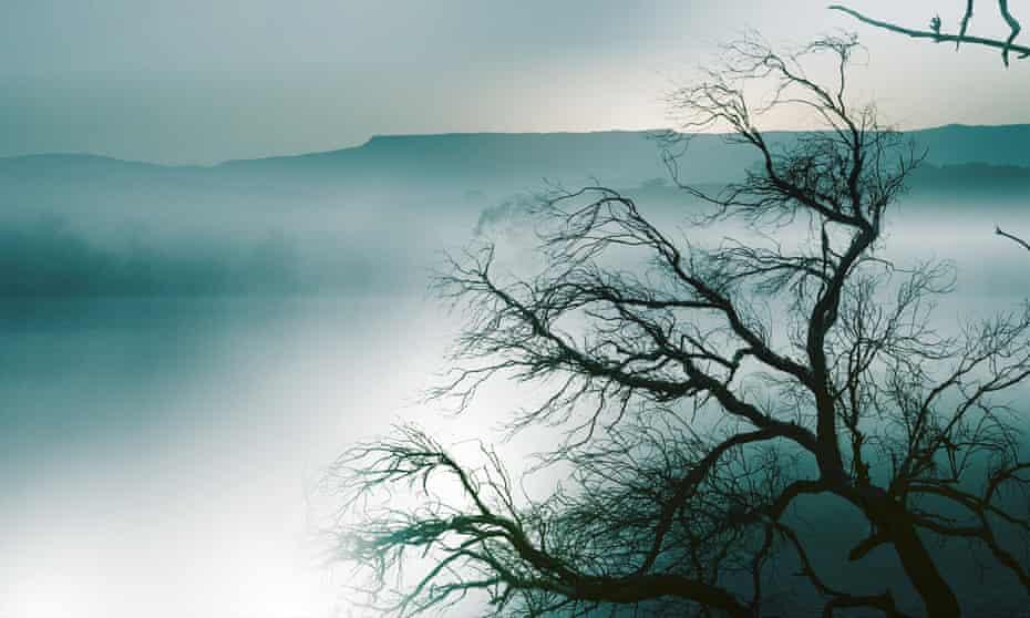 A mountain ridge, mist and trees
