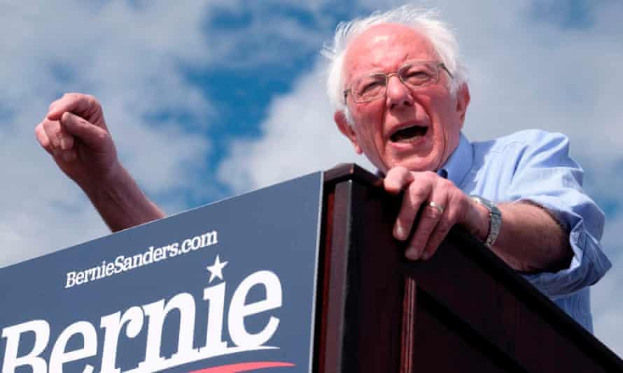 Bernie Sanders speaks during a rally at Valley High School in Santa Ana, California.