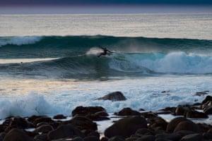 Norwegian surfer Espen Evertsen rides a wave