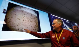 Tom Hoffman of Nasa points to the first picture of Mars sent back by the InSight lander