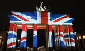 Union flag displayed on Brandenburg Gate