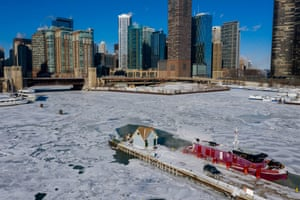 A Chicago Fire Department boat is seen outside the docks in between the Chicago River and Lake Michigan