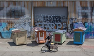 Gregory Kloehn has built some 50 tiny houses and distributed them to homeless people in West Oakland.