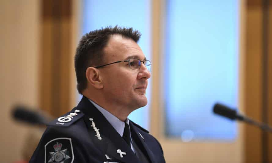 Australian federal police commissioner Reece Kershaw at the Senate inquiry into Covid-19