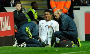 Joe Gomez is treated during the England Under-21s win over their Kazakhstan counterparts on Tuesday.