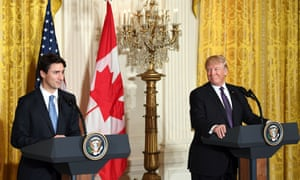 Donald Trump attended a joint press conference with visiting Canadian prime minister Justin Trudeau at the White House on Monday.