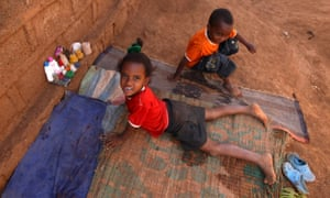Eritrean refugee children play at a refugee camp in the Tigrai region in Ethiopia.