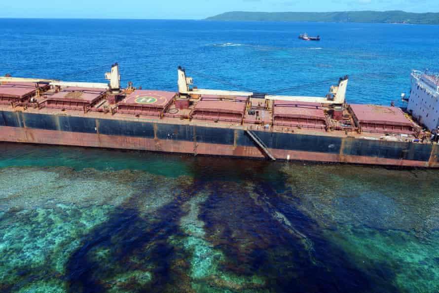 The MV Solomon Trader along the coastline of Rennell Island